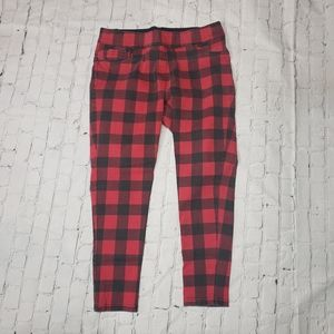 Nygard Slims Luxe Jeggings Legging Red Plaid Skinny Pants High Waisted